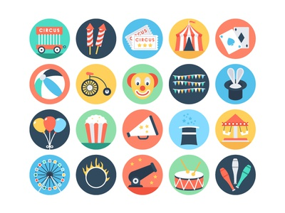 Flat Circus Vector Icons