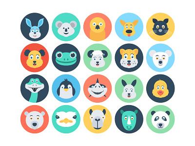 Flat Animal Icons donkey cute animals cat panda rabbit flat icons icons illustrations duck