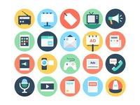 Flat Advertising and Media Icons