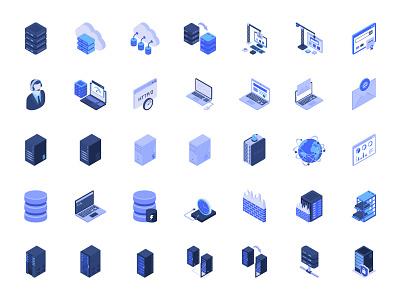 Web Hosting and Servers Isometric Icons Set isometric design flat icon design icons isometric colored icons set of icons icon flat icons illustration icons set illustrations