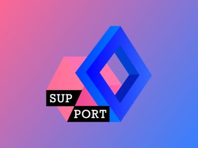 Logotype for support colors blue illustration vector logo design