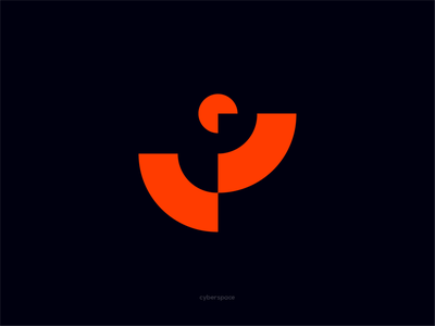 Cyberspace spaceman game shot target man space orange red sketch symbol icon typography branding vector logo lyamindesign hashdogdesign izhevskdesigner