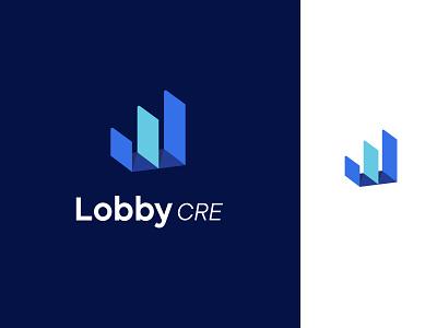 Lobby CRE icon brand identity commercial real estate tech logo platform real estate charlotte logo data branding