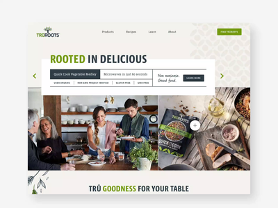 TruRoots cooking recipes consumer earthy organic illustration food website product ux website ui web