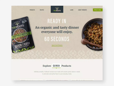 TruRoots recipes organic products patterns illustration food website earthy cooking consumer design product ux website ui web
