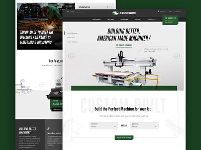 C.R. Onsrud Website green homepage website design industrial machinery design product ux website ui charlotte web