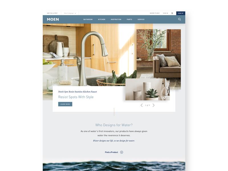 Moen Faucets water e-commerce product home faucet website ux ui web moen