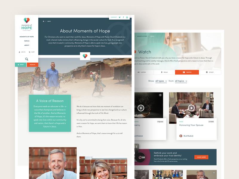 Moments of Hope Media Hub hub media ministry hope color non-profit website ux ui web charlotte