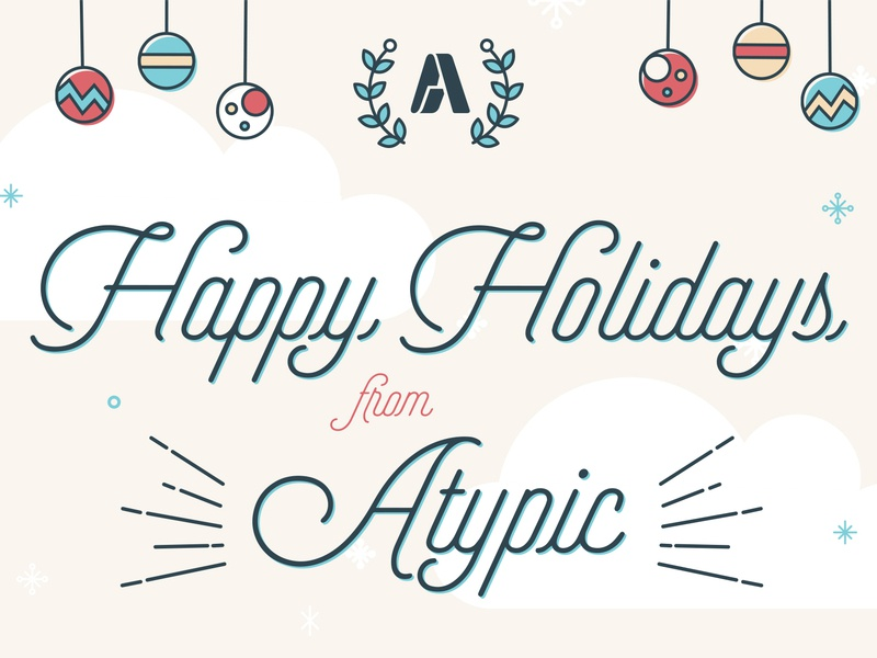 Happy Holidays christmas holiday card color holiday vector typography illustration charlotte
