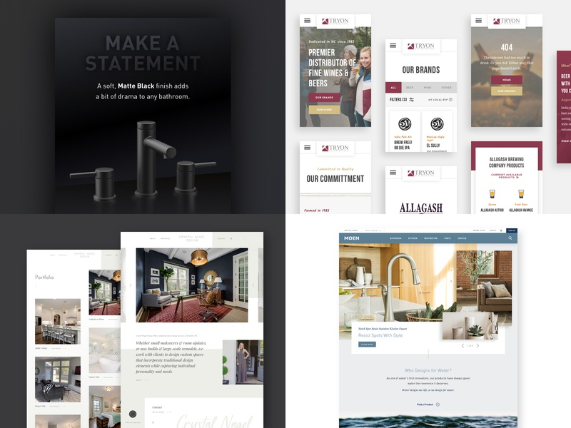 2018 home interior beer faucet design moen branding e-commerce website ux product charlotte ui web