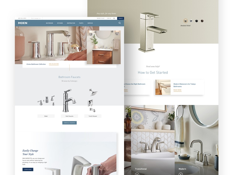 Moen Bathroom Faucets minimal faucet design clean moen e-commerce website ux ui product web