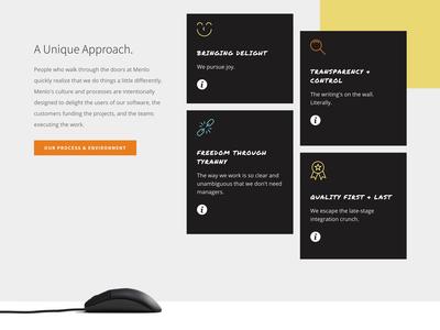 Menlo Innovations Cards card ui ux webdesign blackboard agency icons interaction card flip design website web