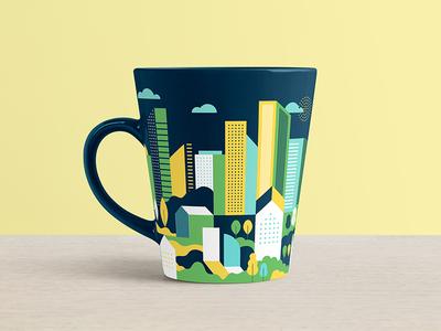 New City Church t-shirt coffee mug coloful city church branding vector design illustration charlotte