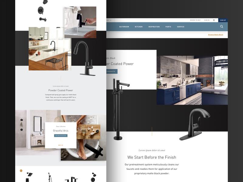 Moen Matte Black Finish matte black home interior design faucet moen e-commerce product website ux ui web