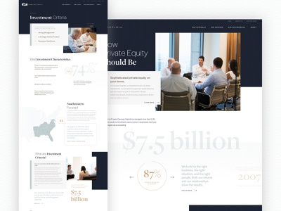 Carousel Capital Website finance investment stats navy web typography design website charlotte