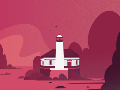 Coquille River Lighthouse ui design design lighthouse logo lighthouse illustration design illustration art pink illustrator illustration