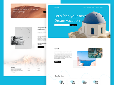 Travel Landing Page Design web design travel website digital travel agency landing page design dribbble best shot trending design templates template userinterface ui user interface design adobe xd uiux ui design uidesign elementor pro travel website elementor