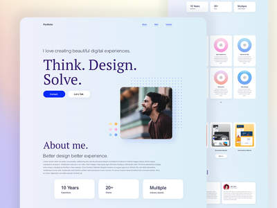 Portfolio Website Landing Page Design web design adobe xd ui user experience ui design user interface design website concept portfolio design elementor templates elementor portfolio website portfolio trending ui trending design dribbble best shot best shot
