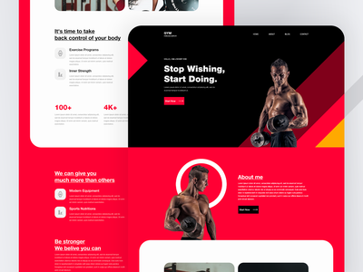 Gym Trainer Website Template for Elementor landing page landing page design landingpage template wordpress elementor uidesign ui design fitness gym web website ux ui branding web design