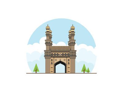 Charminar Hyderabad - INDIA landmark heritage cityscapes strokes design art design india heyderabad charminar building illustration