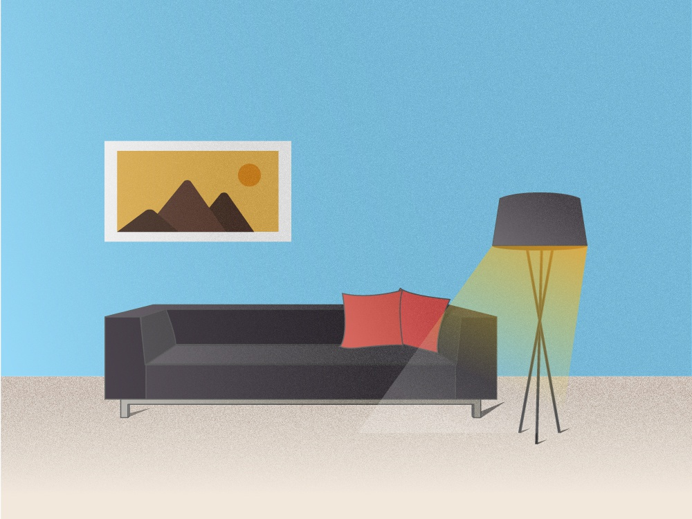 The Waiting Couch :) daily practice daily challange illusionist blue light empty sofa couch illustration design design illustrator illustration art illustration illustrated