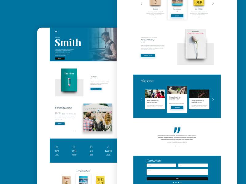 Author Template Design for Divi blue wordpress web design helloideabox template design user experience uidesign landing page