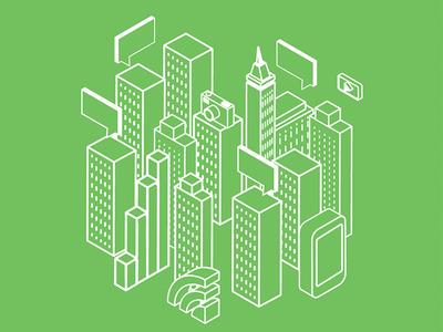 Cityscape Tote Bag Illustration
