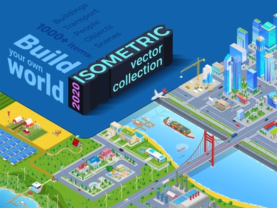 Isometric Vector Collection 2020 design trendy illustration infographics world builder scene generator people cars buildings 3d 2020 collection vector isometric