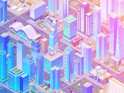 Isometric City view street mall scene generator constructor 3d design cars building collection skyscraper city vector isometric