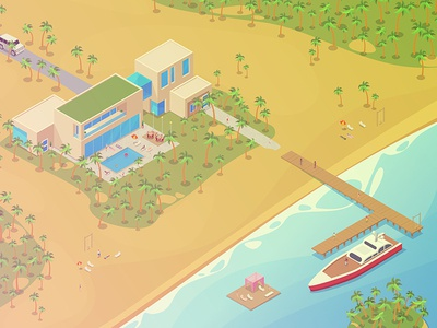 Isometric Tropical Villa illustration ocean sea palms car tropical tropic beach pier boat yacht appartment house villa collection vector isometric