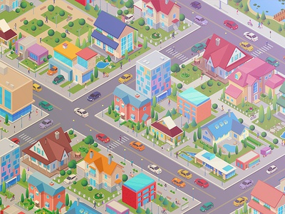 Isometric city district library constructor generator scene map design roads people cars cottage house street city isometric
