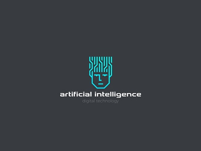 Artificial Intelligence Logo AI cyber robot chip technology digital neon outline linear design logotype face head