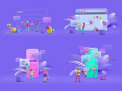 UI/UX Design scenes scenes ui design ux design characters people 3d creative website application app mobile web design ux ui