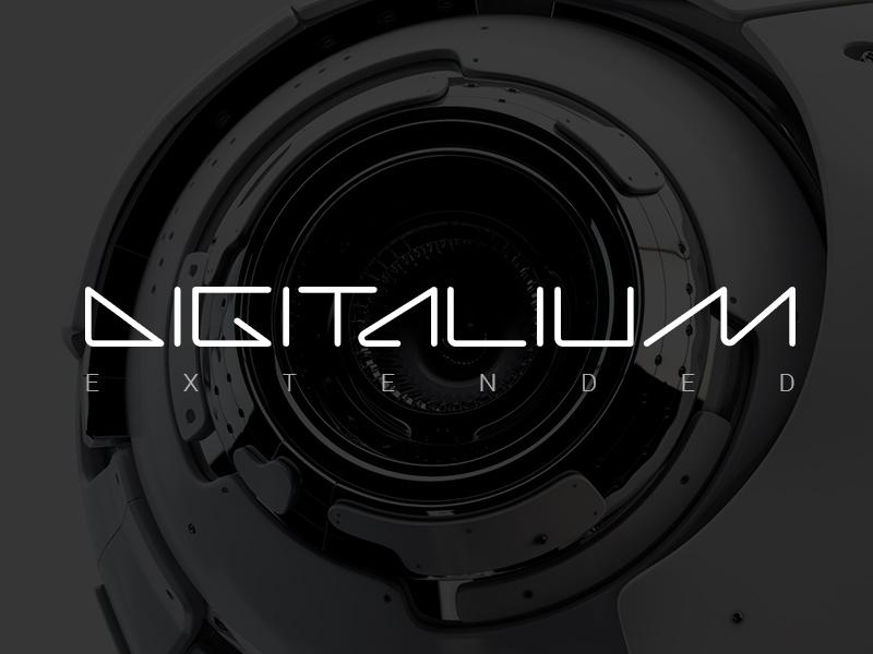 Digitalium Extended Font design sci-fi science technology robot future outline linear web ttf font digital