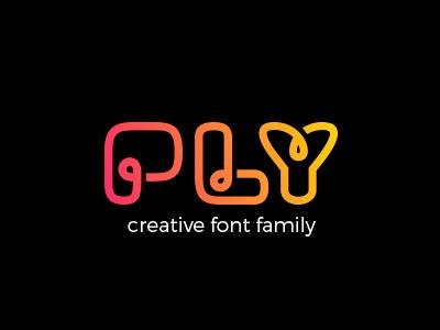 PLY font family art line linear design lettering typography webfont otf ttf type font ply