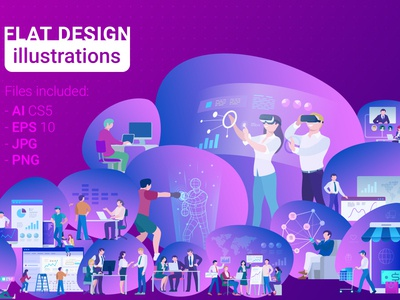 Flat Design Illustrations Pack app web poster banner collection ultra violet reality virtual vr design template illustrations vector flat