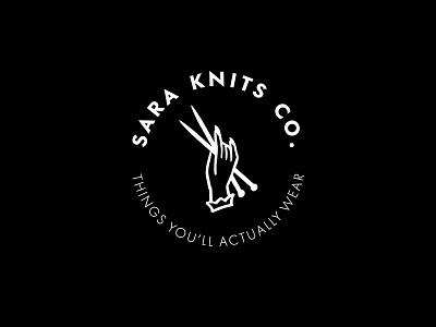 Sara Knits Co knit knitting hand badge logo illustration