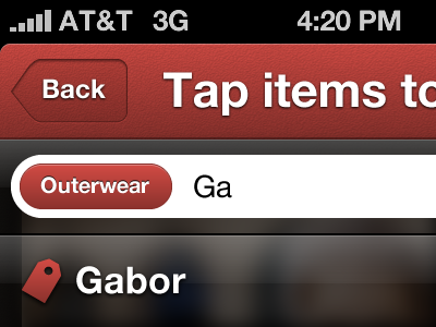 Tagging iphone ios ui interface title bar tag button search auto suggest auto complete