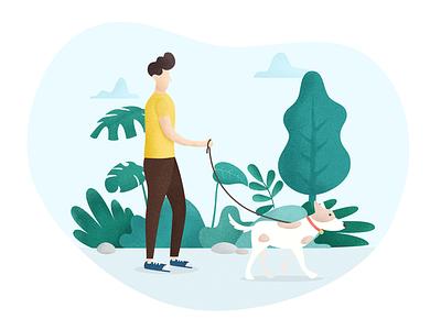 Walk a Dog illustration walk dog people plant green
