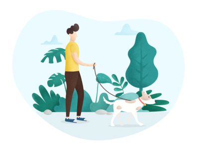 Walk a Dog illustration walk dog people plant green