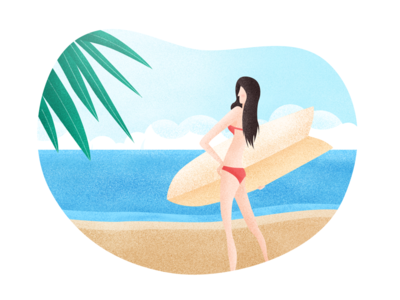 Summer Beach surfing sea beauty beach summer illustration