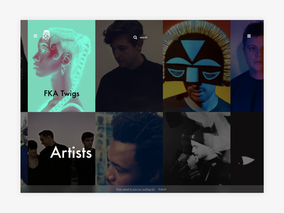 Young Turks - Browse Artists redesign explore search browse navigation music ux-ui exploration