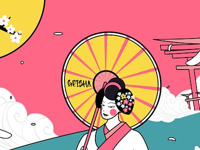 Geisha illustrator character illustration design digital art moho vector geisha
