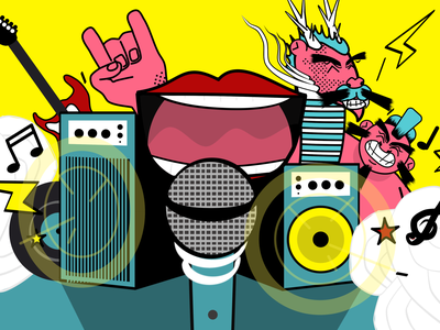 Karaoke dribbble character moho digital art vector party guitar mic dragon sumo music karaoke