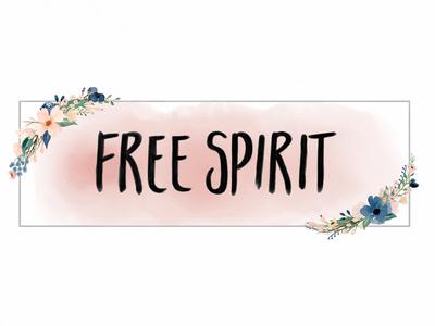 """Free Spirit"" Watercolor Logo hand drawn watercolor logo pink flowers logo watercolor"