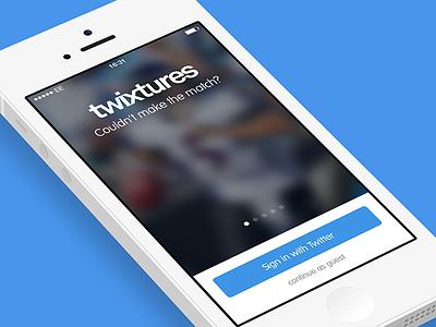 Twixtures App Intro Screen sports app ios iphone mobile login startup twitter