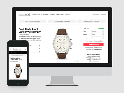 Product Details minimal white black layout responsive mobile