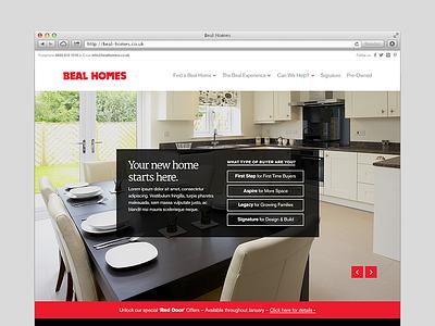 Beal Homepage responsive website red black white