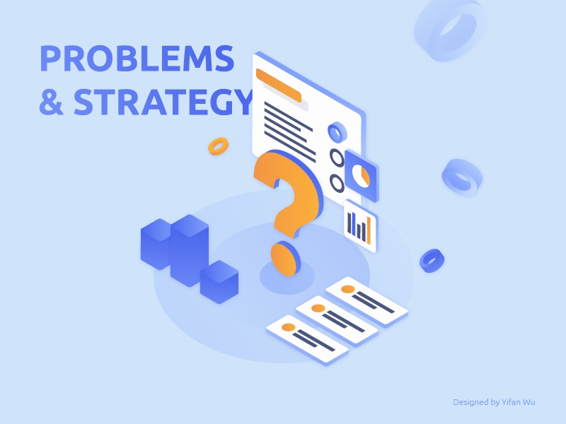 Problems & Strategy geometric gradient shapes colors illustration