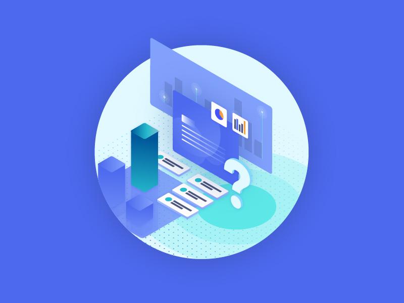 Illustration Style Development minimal gradient blue development experiment strategy tech colors illustration